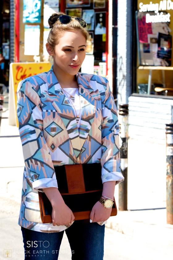 Photography: Black Earth Studios Model: Tasneem Blazer & Clutch: The Vintage Dressingroom Necklace: The Gift of Glamour MUA: Maheen Hasni